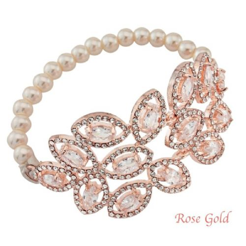 Rose Gold  crystal pearl bridal bracelet, wedding bracelet